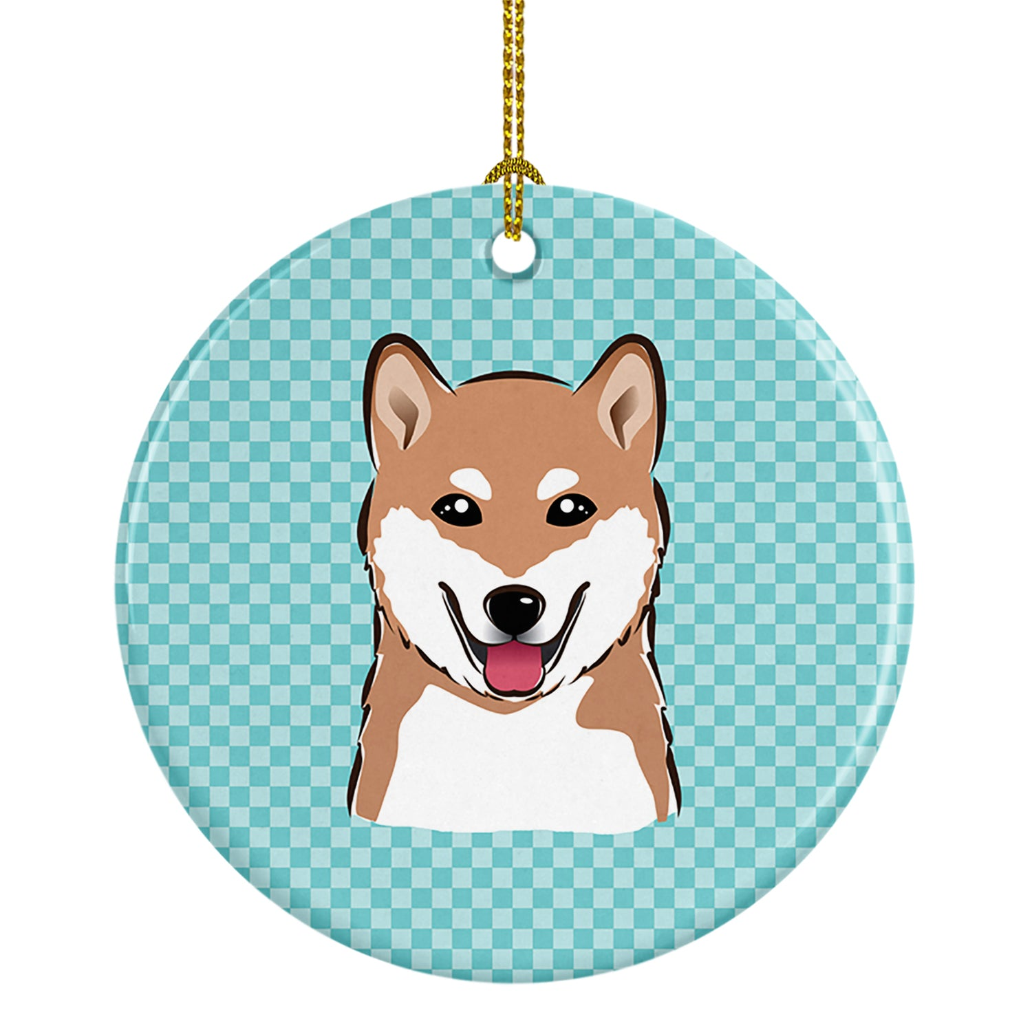 Buy this Checkerboard Blue Shiba Inu Ceramic Ornament BB1163CO1