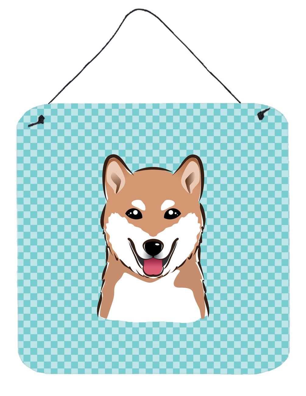 Checkerboard Blue Shiba Inu Wall or Door Hanging Prints BB1163DS66 by Caroline's Treasures