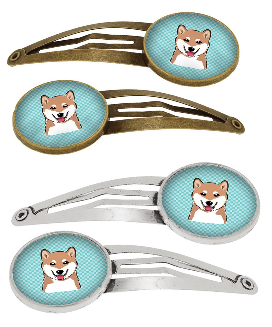 Buy this Checkerboard Blue Shiba Inu Set of 4 Barrettes Hair Clips BB1163HCS4