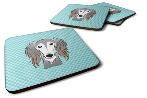 Buy this Set of 4 Checkerboard Blue Saluki Foam Coasters BB1167FC