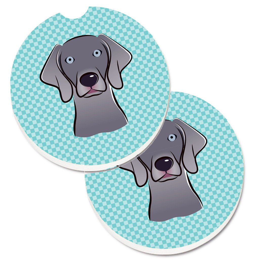 Buy this Checkerboard Blue Weimaraner Set of 2 Cup Holder Car Coasters BB1169CARC