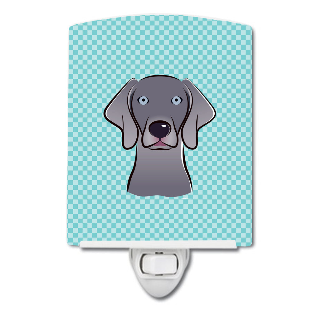 Buy this Checkerboard Blue Weimaraner Ceramic Night Light BB1169CNL