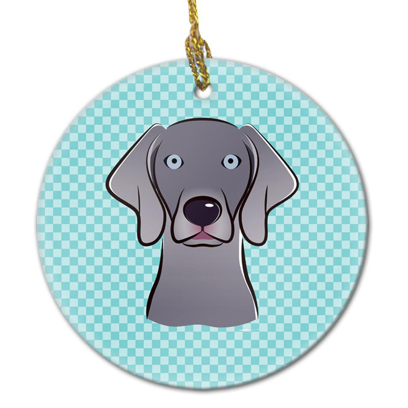 Buy this Checkerboard Blue Weimaraner Ceramic Ornament BB1169CO1