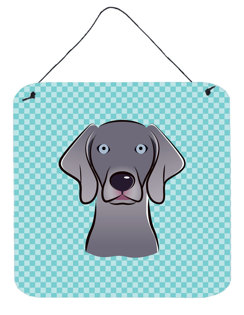 Checkerboard Blue Weimaraner Wall or Door Hanging Prints BB1169DS66 - the-store.com