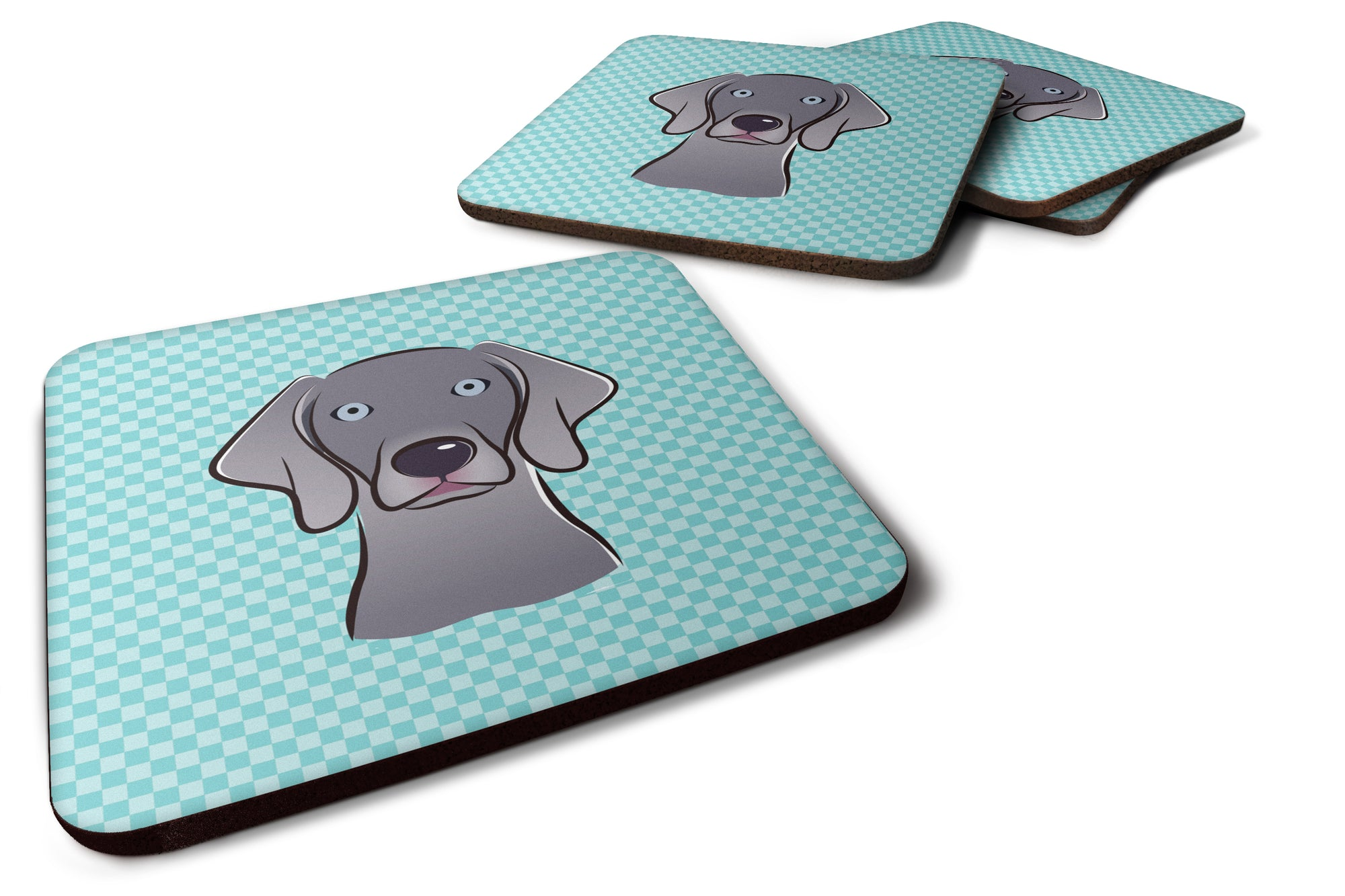 Buy this Set of 4 Checkerboard Blue Weimaraner Foam Coasters BB1169FC