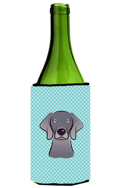 Checkerboard Blue Weimaraner Wine Bottle Beverage Insulator Hugger BB1169LITERK - the-store.com