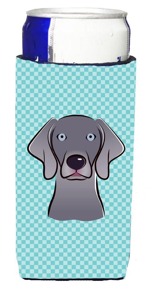 Checkerboard Blue Weimaraner Ultra Beverage Insulators for slim cans BB1169MUK - the-store.com