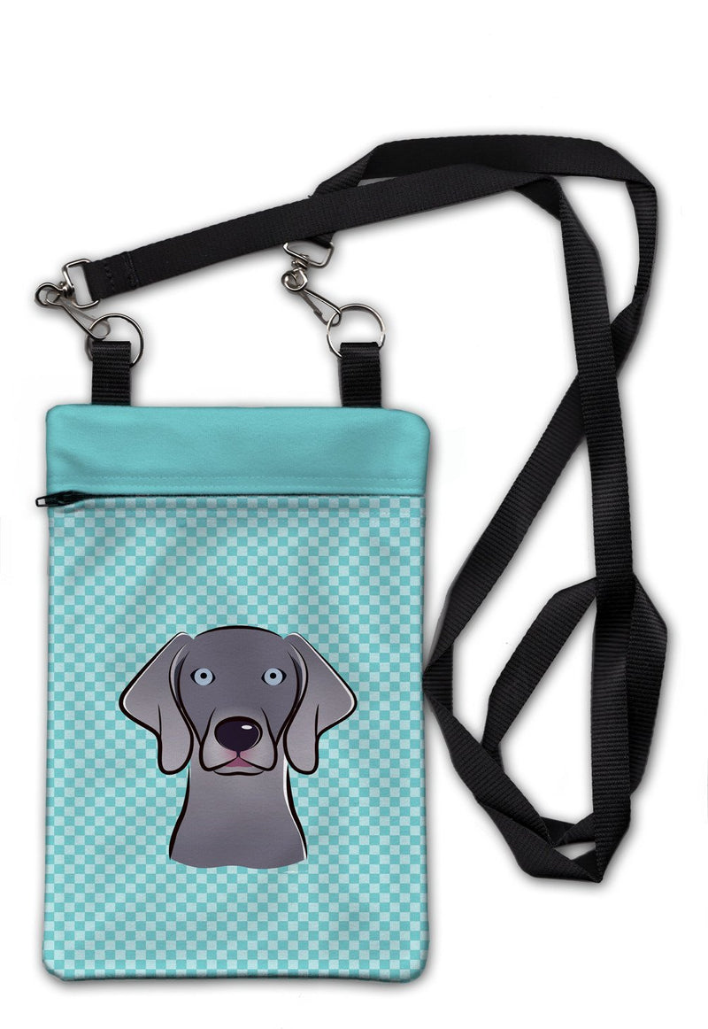 Buy this Checkerboard Blue Weimaraner Crossbody Bag Purse BB1169OBDY