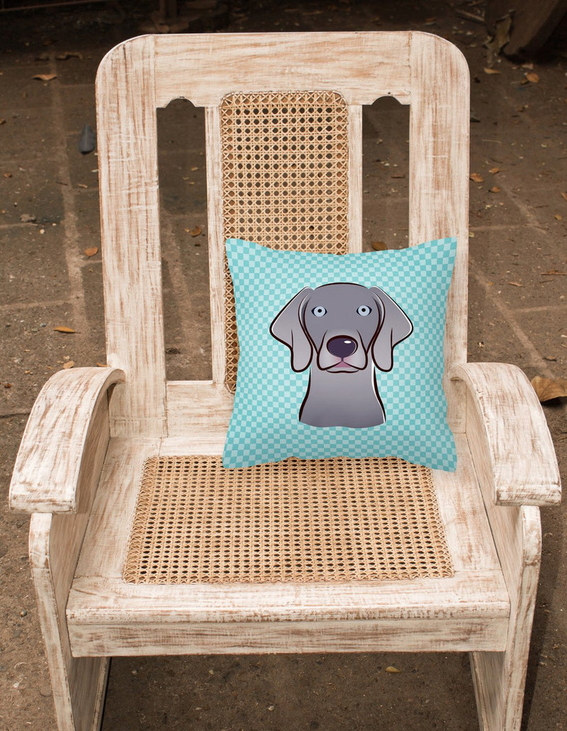 Checkerboard Blue Weimaraner Canvas Fabric Decorative Pillow BB1169PW1414 - the-store.com