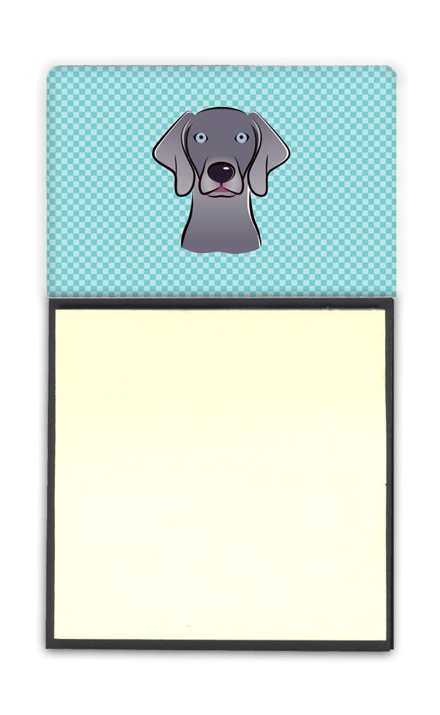 Checkerboard Blue Weimaraner Refiillable Sticky Note Holder or Postit Note Dispenser BB1169SN - the-store.com