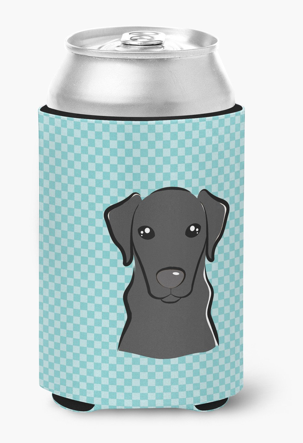 Checkerboard Blue Black Labrador Can or Bottle Hugger BB1173CC by Caroline's Treasures