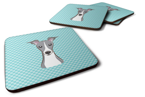 Buy this Set of 4 Checkerboard Blue Italian Greyhound Foam Coasters BB1174FC