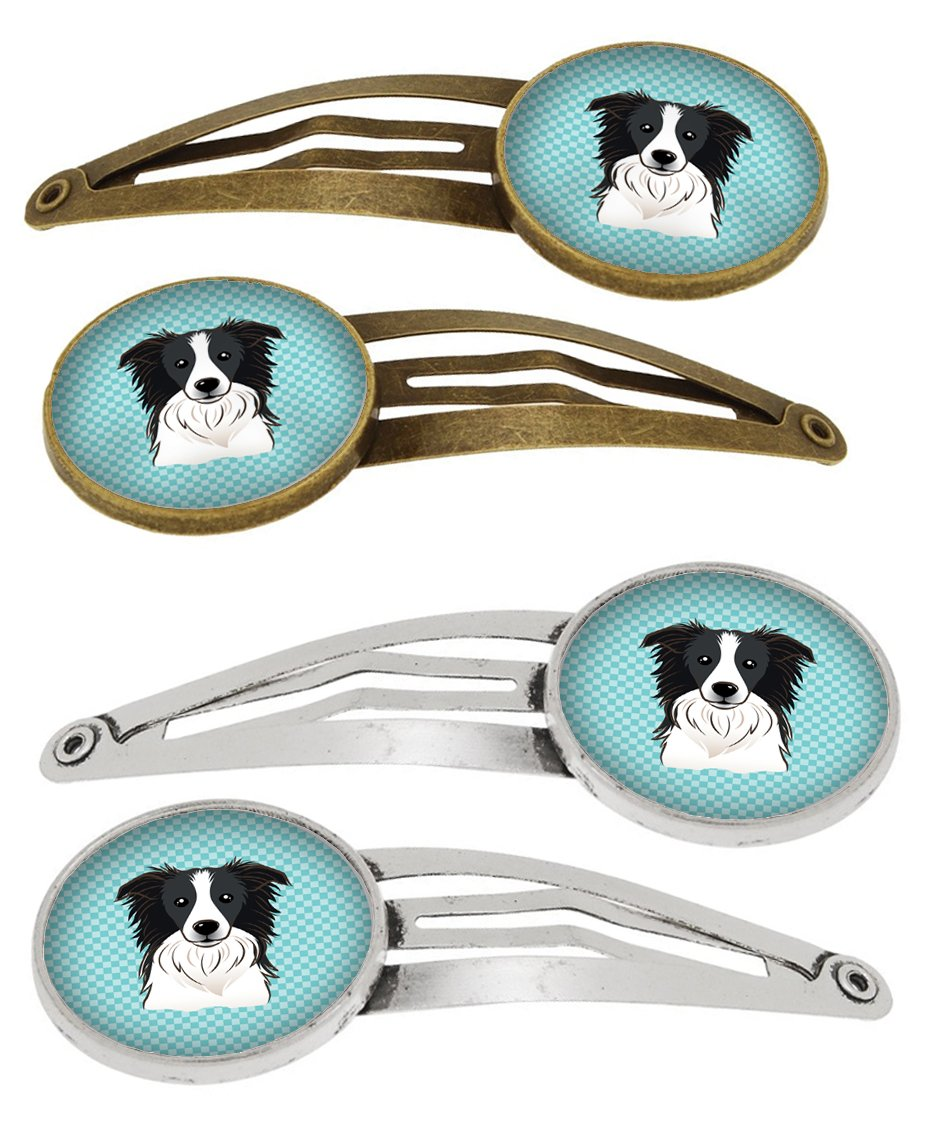 Checkerboard Blue Border Collie Set of 4 Barrettes Hair Clips BB1179HCS4 by Caroline's Treasures