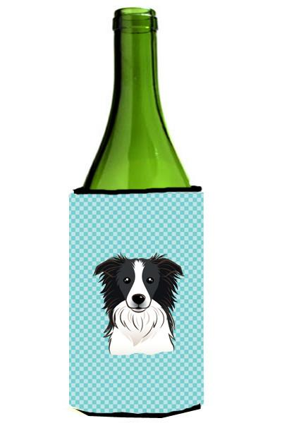 Checkerboard Blue Border Collie Wine Bottle Beverage Insulator Hugger BB1179LITERK by Caroline's Treasures