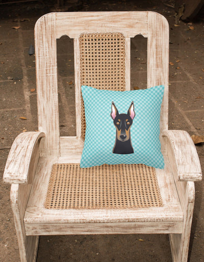 Checkerboard Blue Doberman Canvas Fabric Decorative Pillow BB1183PW1414 - the-store.com