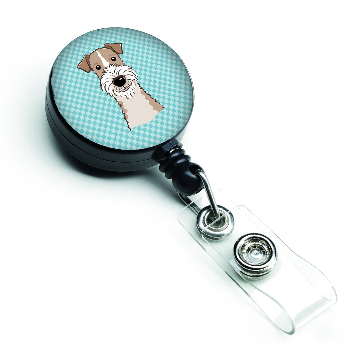 Checkerboard Blue Wire Haired Fox Terrier Retractable Badge Reel BB1185BR by Caroline's Treasures