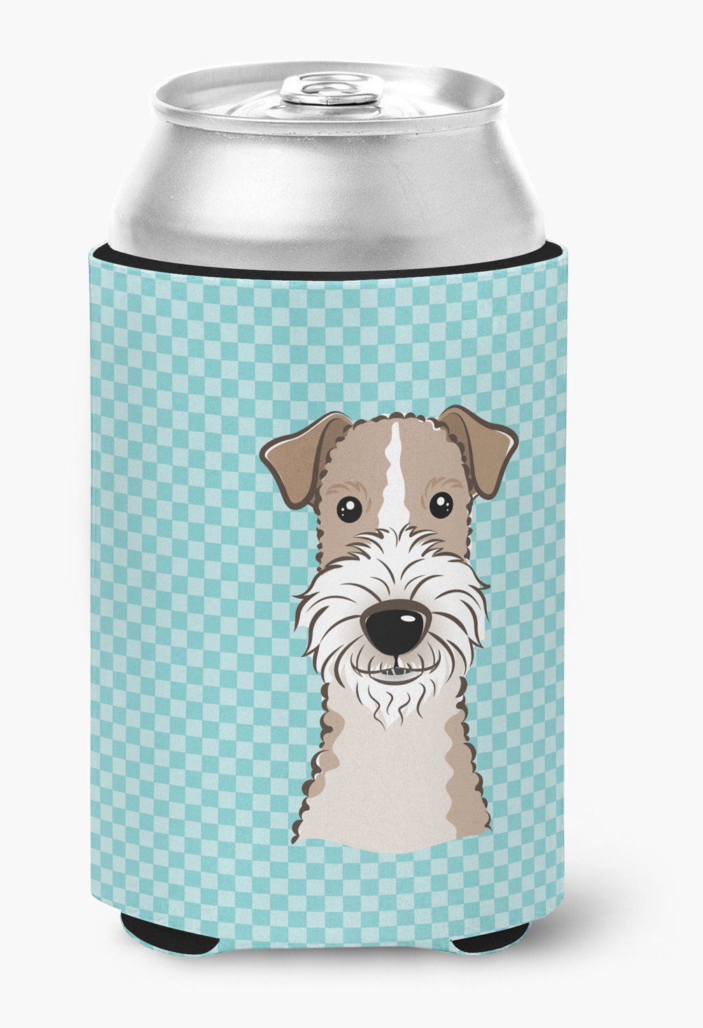 Checkerboard Blue Wire Haired Fox Terrier Can or Bottle Hugger ...