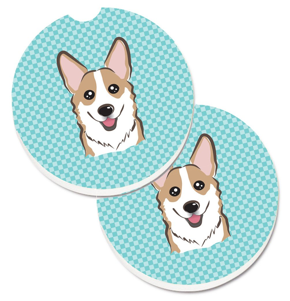 Checkerboard Blue Corgi Set of 2 Cup Holder Car Coasters BB1191CARC by Caroline's Treasures