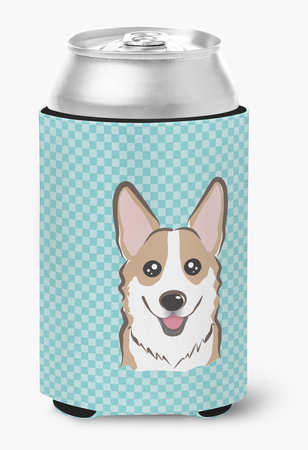 Checkerboard Blue Corgi Can or Bottle Hugger BB1191CC by Caroline's Treasures