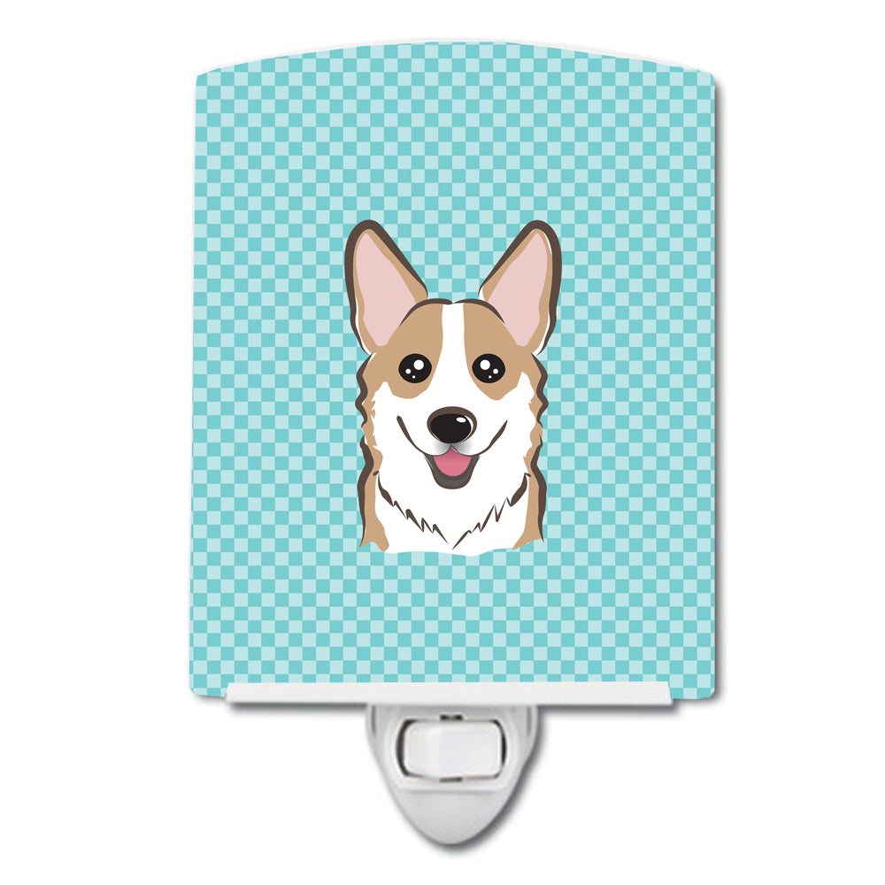 Checkerboard Blue Corgi Ceramic Night Light BB1191CNL by Caroline's Treasures