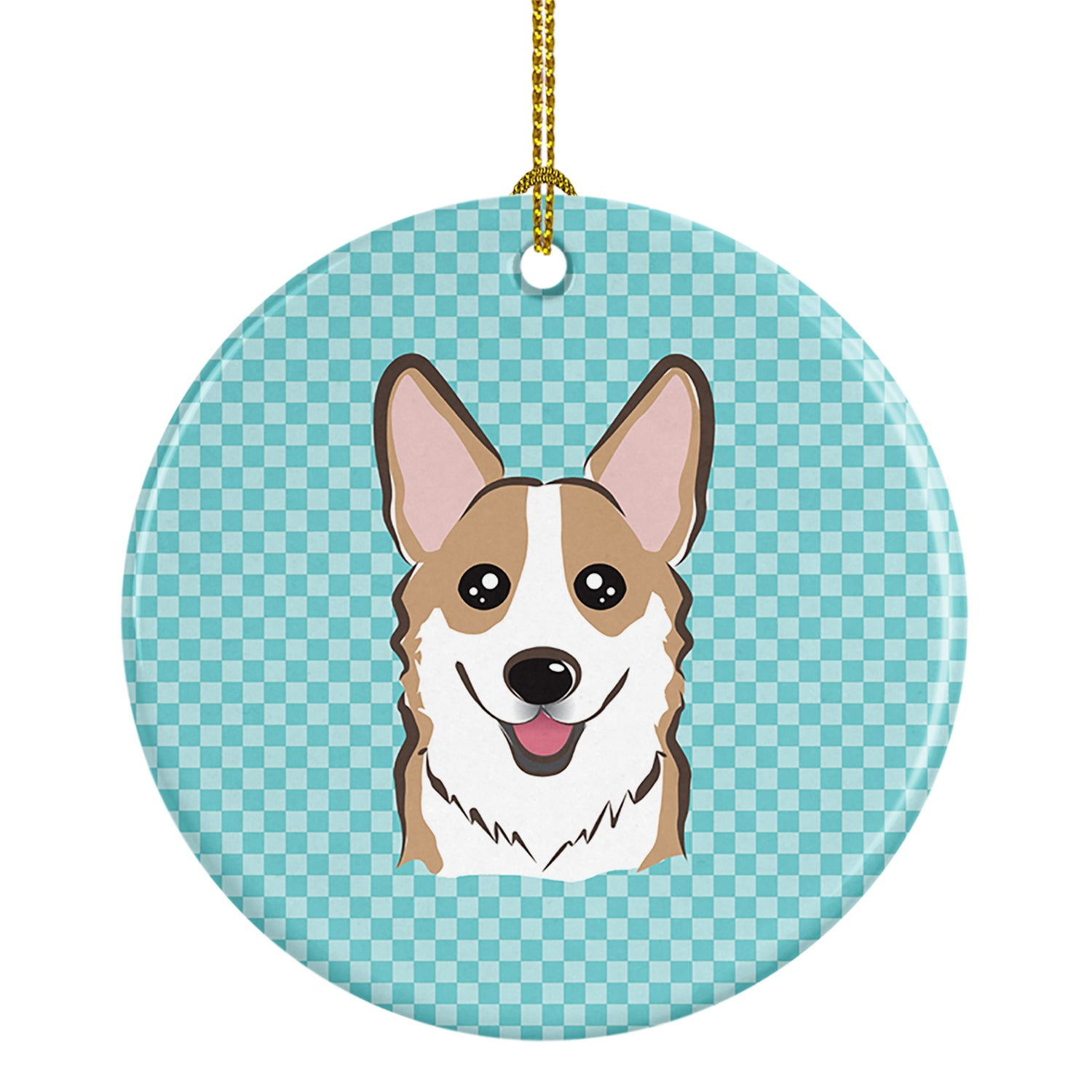 Checkerboard Blue Corgi Ceramic Ornament BB1191CO1 by Caroline's Treasures