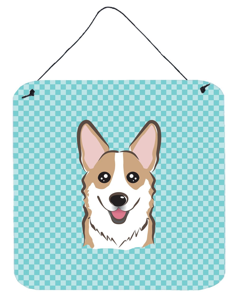 Checkerboard Blue Corgi Aluminium Metal Wall or Door Hanging Prints BB1191DS66 by Caroline's Treasures