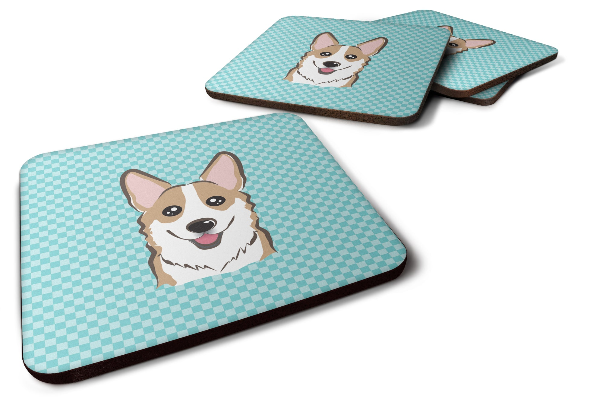 Set of 4 Checkerboard Blue Corgi Foam Coasters BB1191FC by Caroline's Treasures