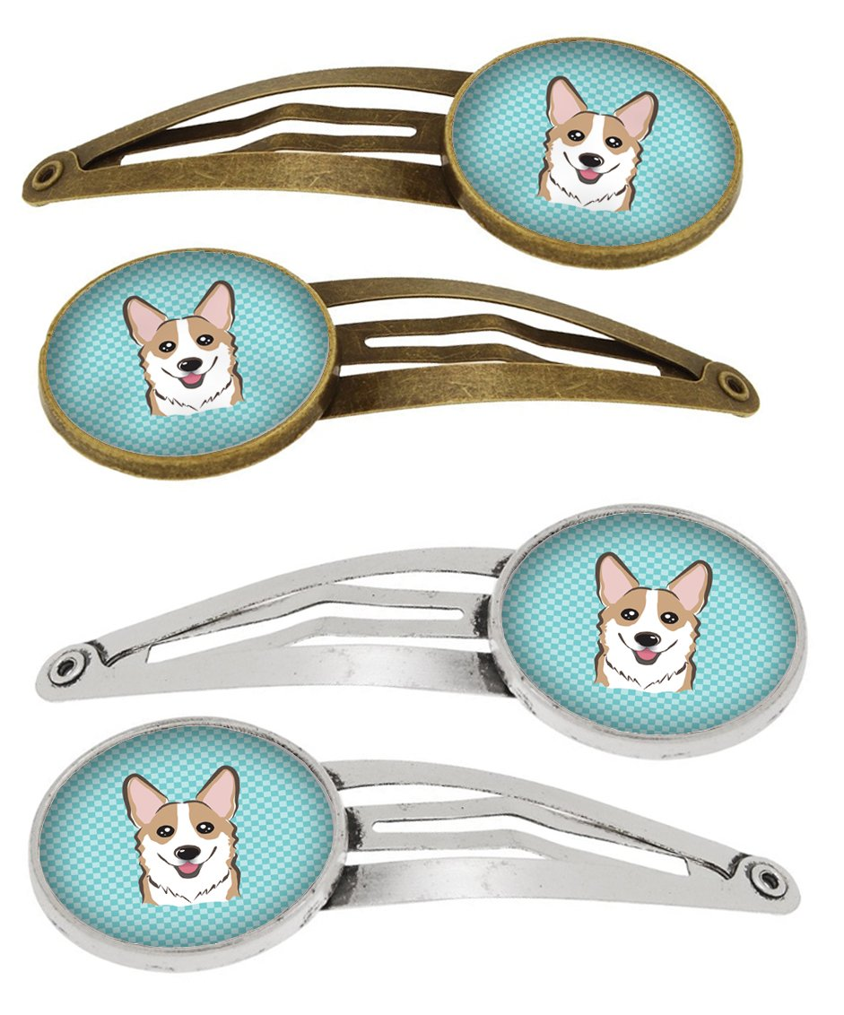 Checkerboard Blue Corgi Set of 4 Barrettes Hair Clips BB1191HCS4 by Caroline's Treasures
