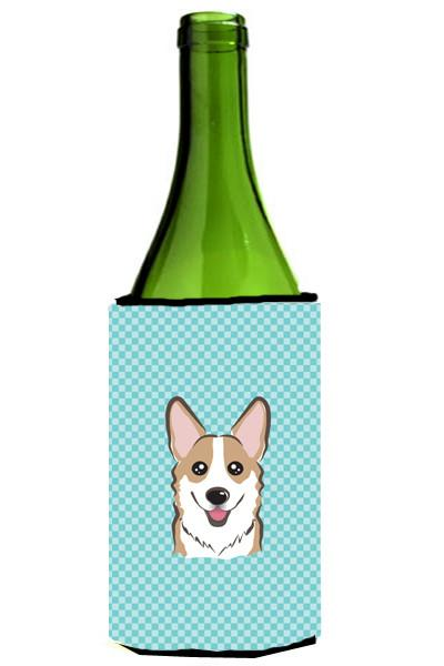 Checkerboard Blue Corgi Wine Bottle Beverage Insulator Hugger BB1191LITERK by Caroline's Treasures
