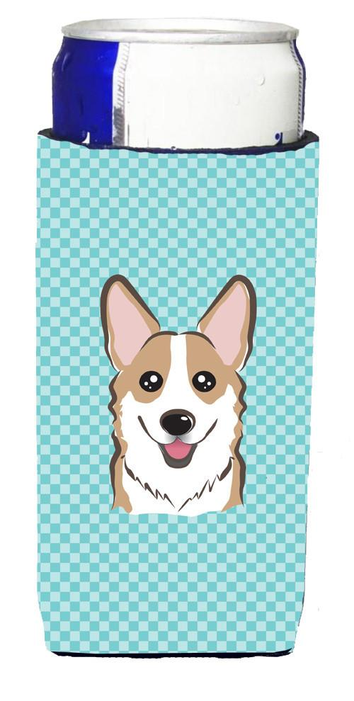Checkerboard Blue Corgi Ultra Beverage Insulators for slim cans BB1191MUK by Caroline's Treasures