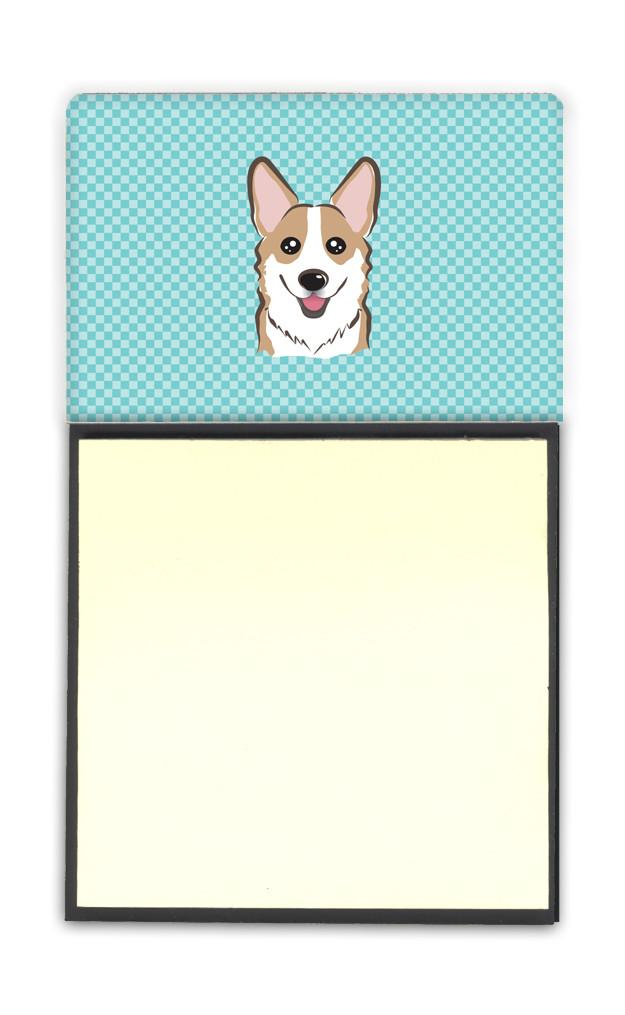 Checkerboard Blue Corgi Refiillable Sticky Note Holder or Postit Note Dispenser BB1191SN by Caroline's Treasures