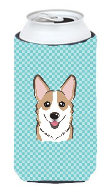 Checkerboard Blue Corgi Tall Boy Beverage Insulator Hugger BB1191TBC by Caroline's Treasures