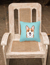 Checkerboard Blue Corgi Canvas Fabric Decorative Pillow BB1192PW1414 - the-store.com