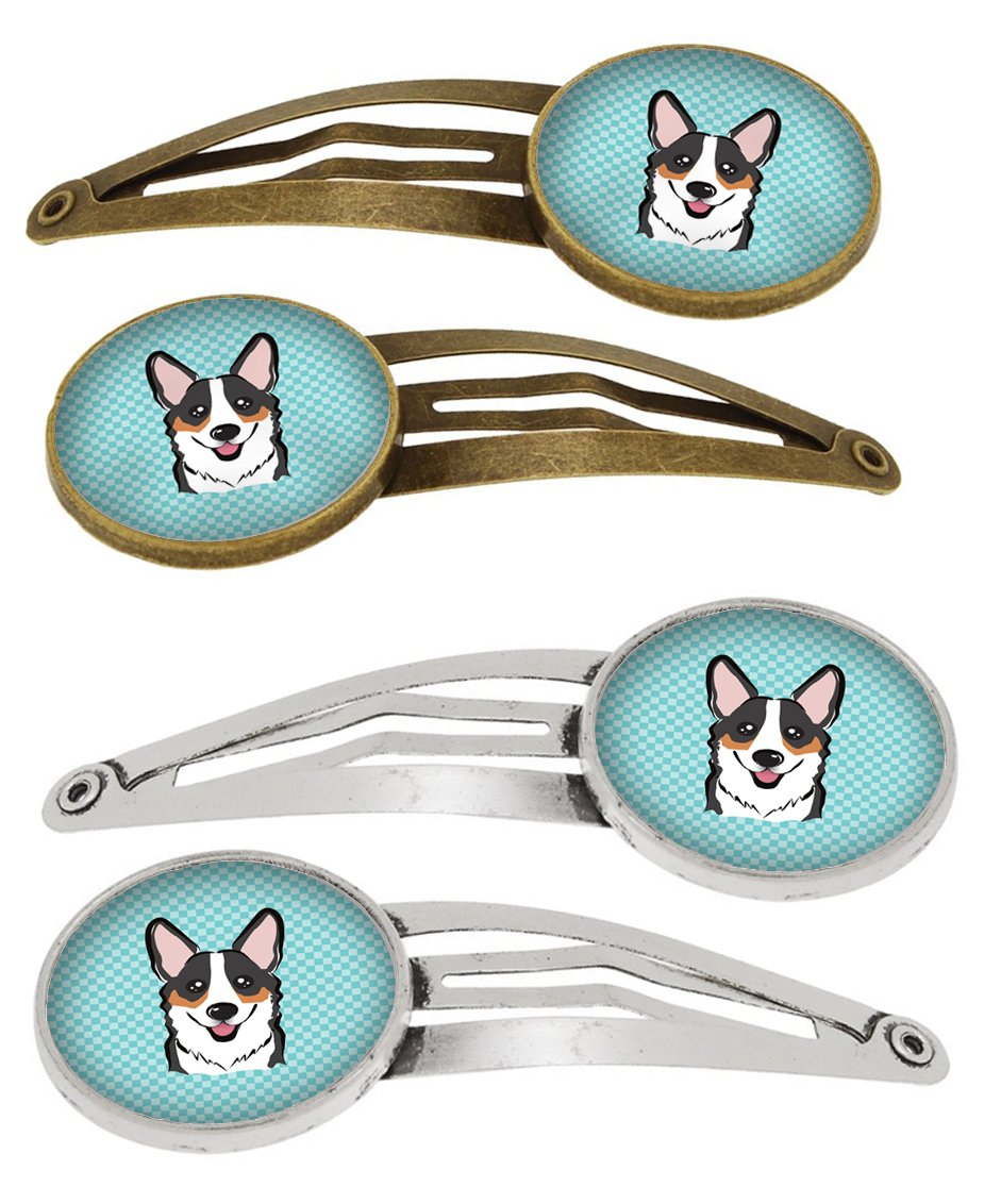 Checkerboard Blue Corgi Set of 4 Barrettes Hair Clips BB1193HCS4 by Caroline's Treasures