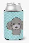 Checkerboard Blue Silver Gray Poodle Can or Bottle Hugger BB1197CC - the-store.com