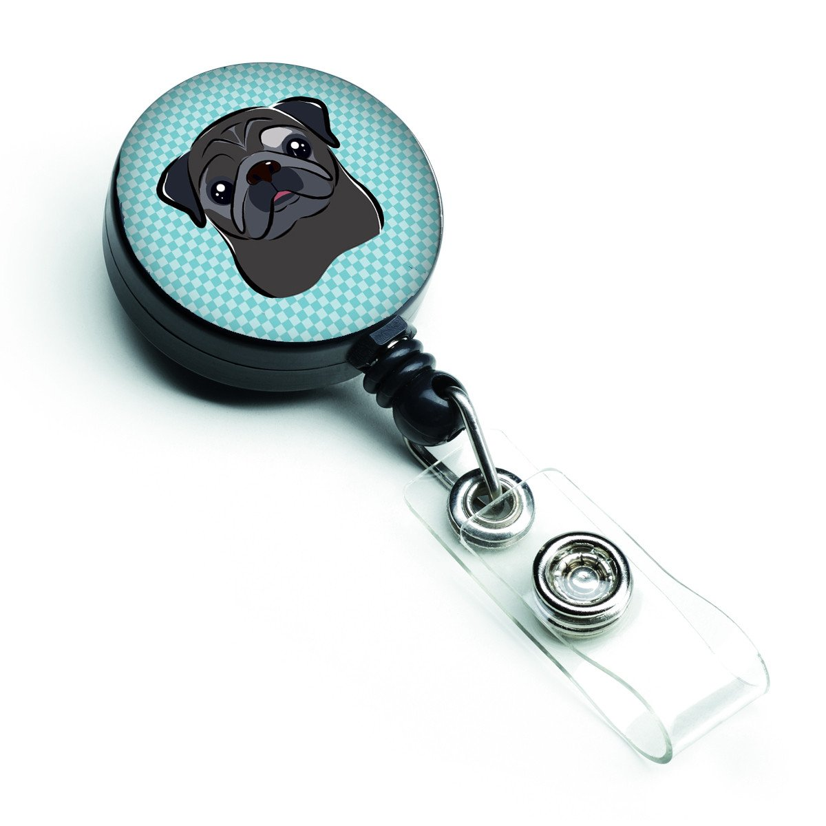 Checkerboard Blue Black Pug Retractable Badge Reel BB1201BR by Caroline's Treasures
