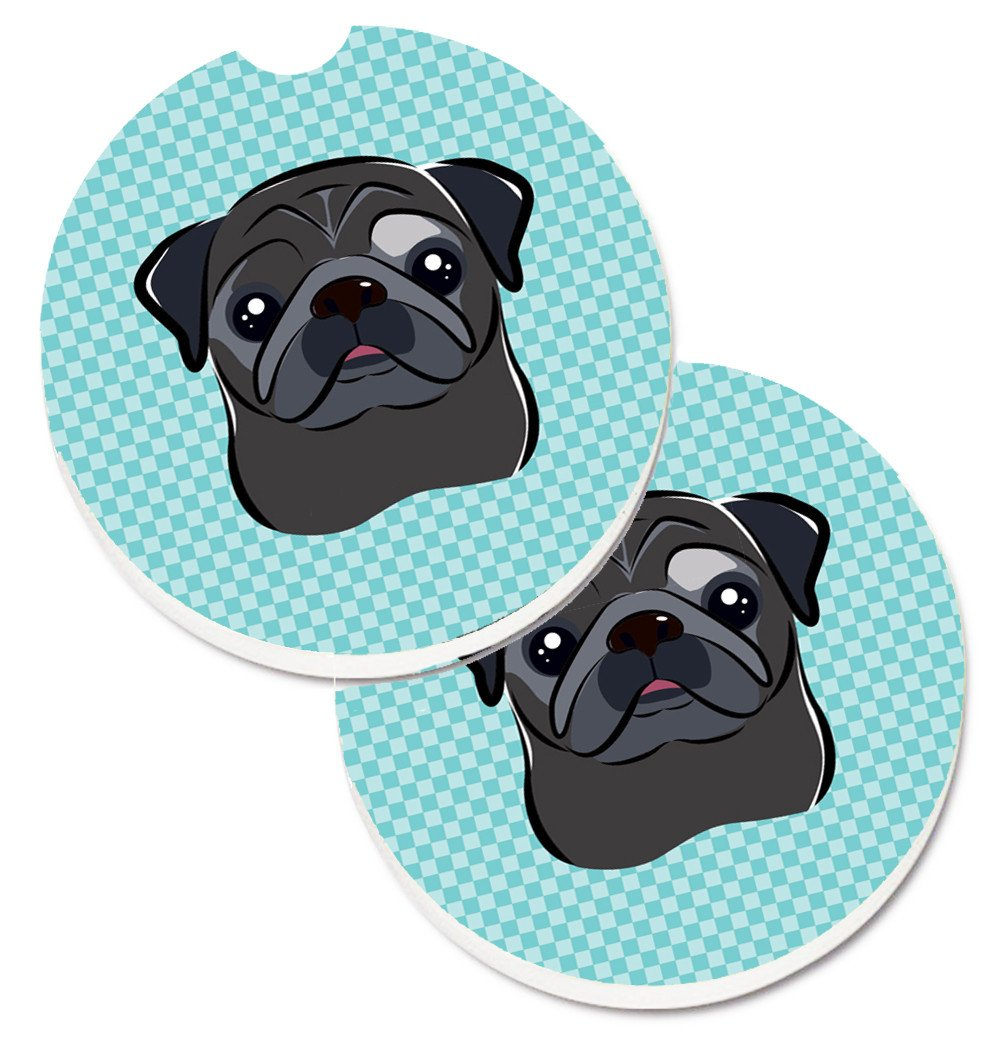 Checkerboard Blue Black Pug Set of 2 Cup Holder Car Coasters BB1201CARC by Caroline's Treasures