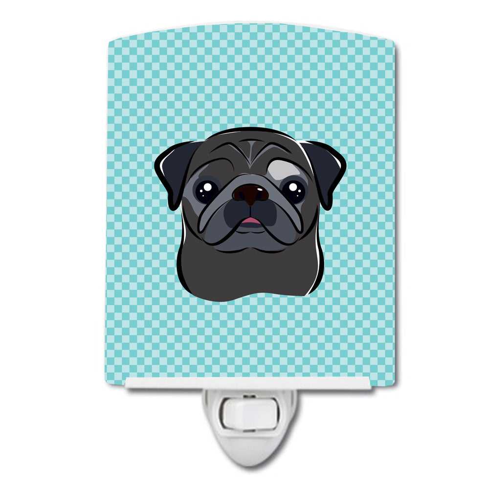 Buy this Checkerboard Blue Black Pug Ceramic Night Light BB1201CNL