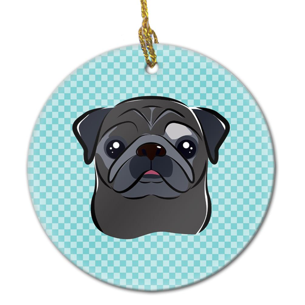 Buy this Checkerboard Blue Black Pug Ceramic Ornament BB1201CO1