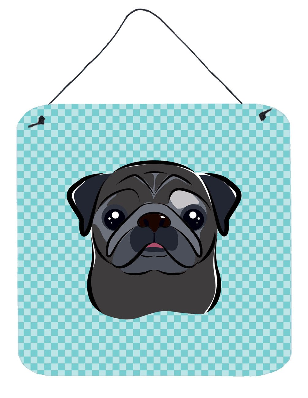Checkerboard Blue Black Pug Wall or Door Hanging Prints BB1201DS66 by Caroline's Treasures