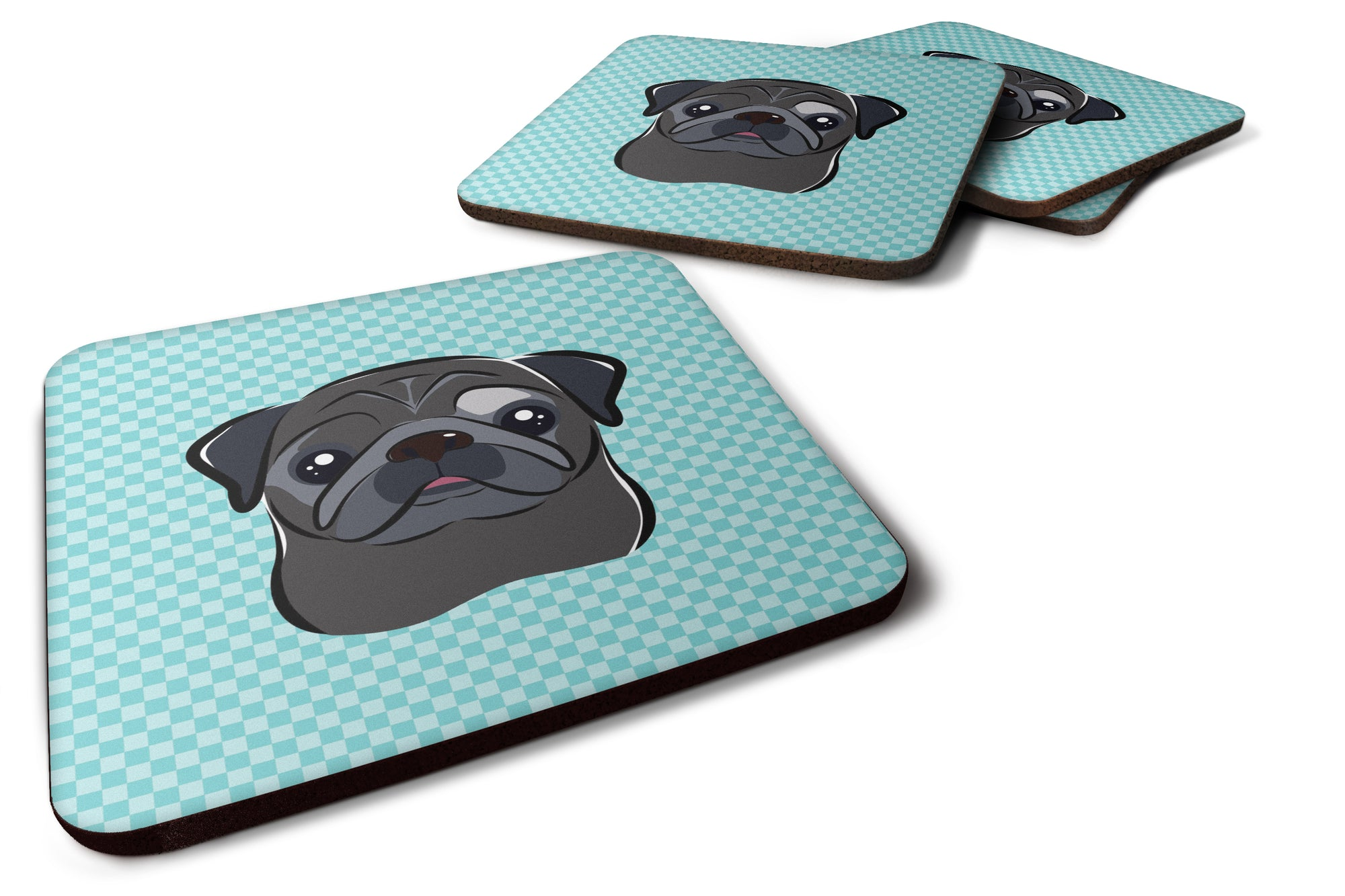 Buy this Set of 4 Checkerboard Blue Black Pug Foam Coasters BB1201FC