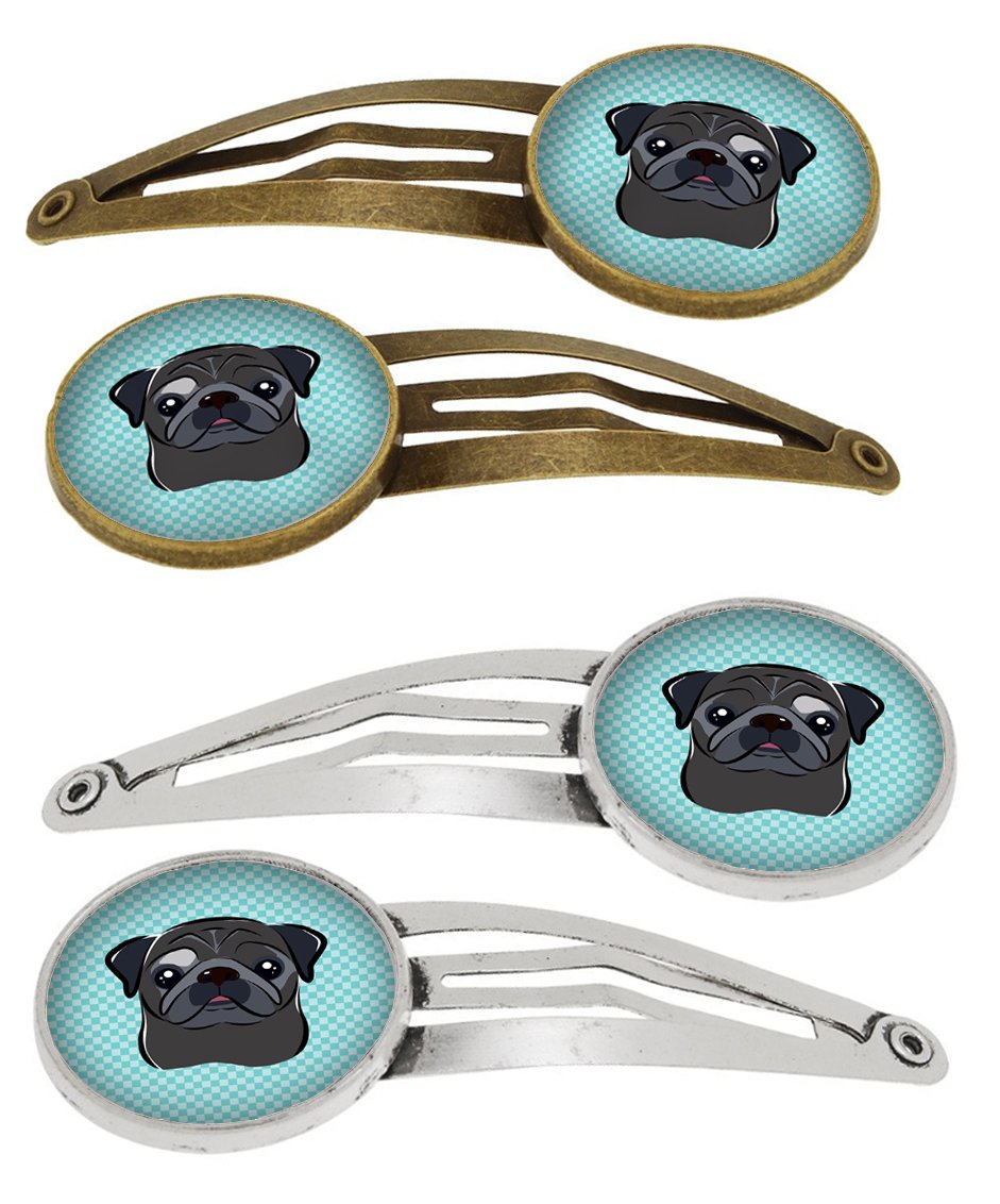 Checkerboard Blue Black Pug Set of 4 Barrettes Hair Clips BB1201HCS4 by Caroline's Treasures