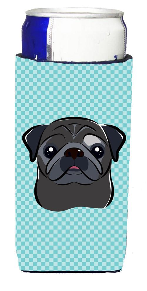 Checkerboard Blue Black Pug Ultra Beverage Insulators for slim cans BB1201MUK by Caroline's Treasures
