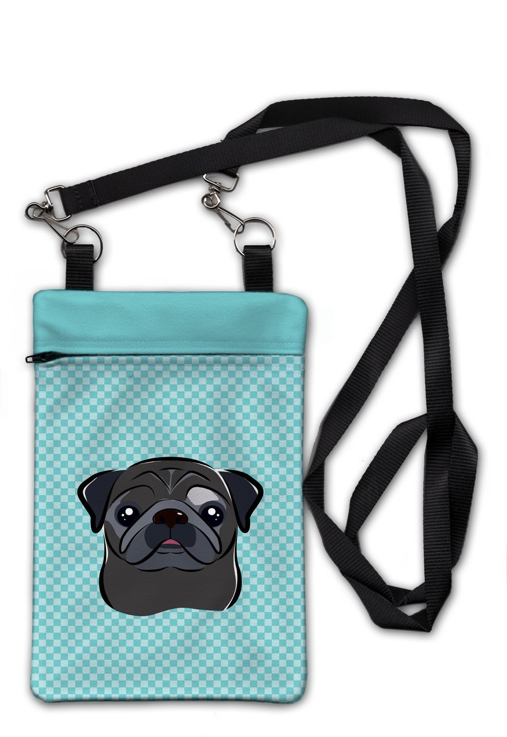 Buy this Checkerboard Blue Black Pug Crossbody Bag Purse BB1201OBDY