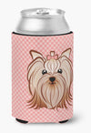Checkerboard Pink Yorkie Yorkshire Terrier Can or Bottle Hugger BB1204CC by Caroline's Treasures