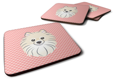 Buy this Set of 4 Checkerboard Pink Pomeranian Foam Coasters BB1207FC