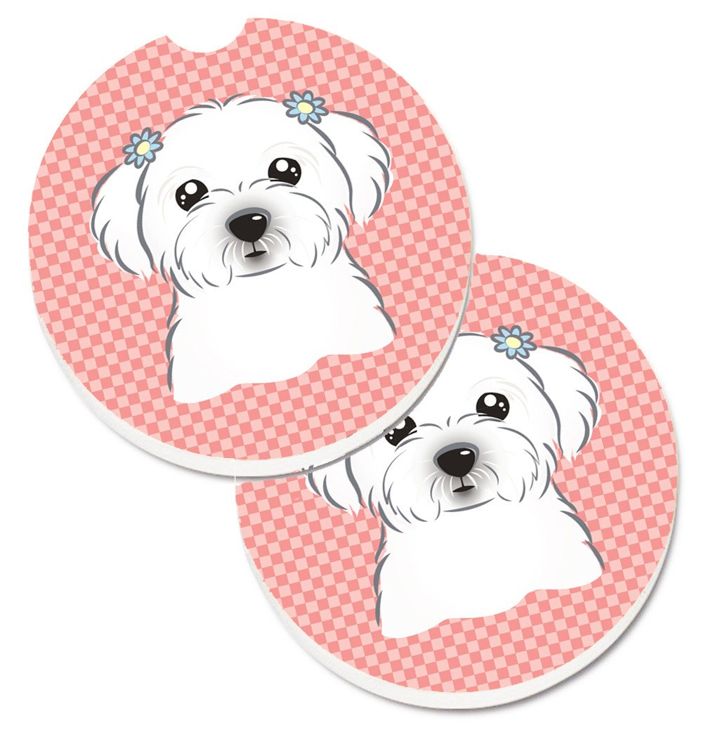 Checkerboard Pink Maltese Set of 2 Cup Holder Car Coasters BB1208CARC by Caroline's Treasures