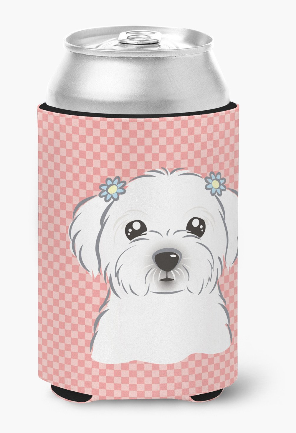 Checkerboard Pink Maltese Can or Bottle Hugger BB1208CC by Caroline's Treasures