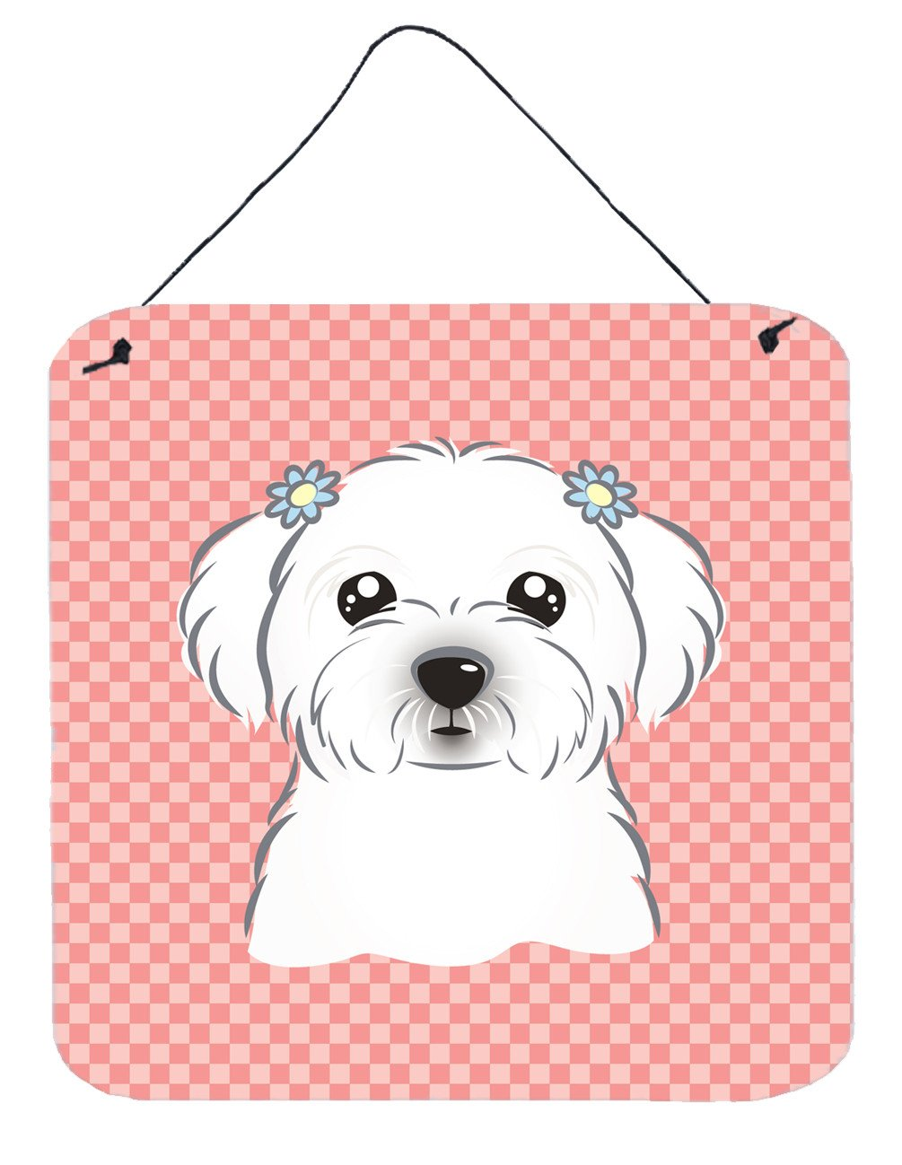 Checkerboard Pink Maltese Wall or Door Hanging Prints BB1208DS66 by Caroline's Treasures