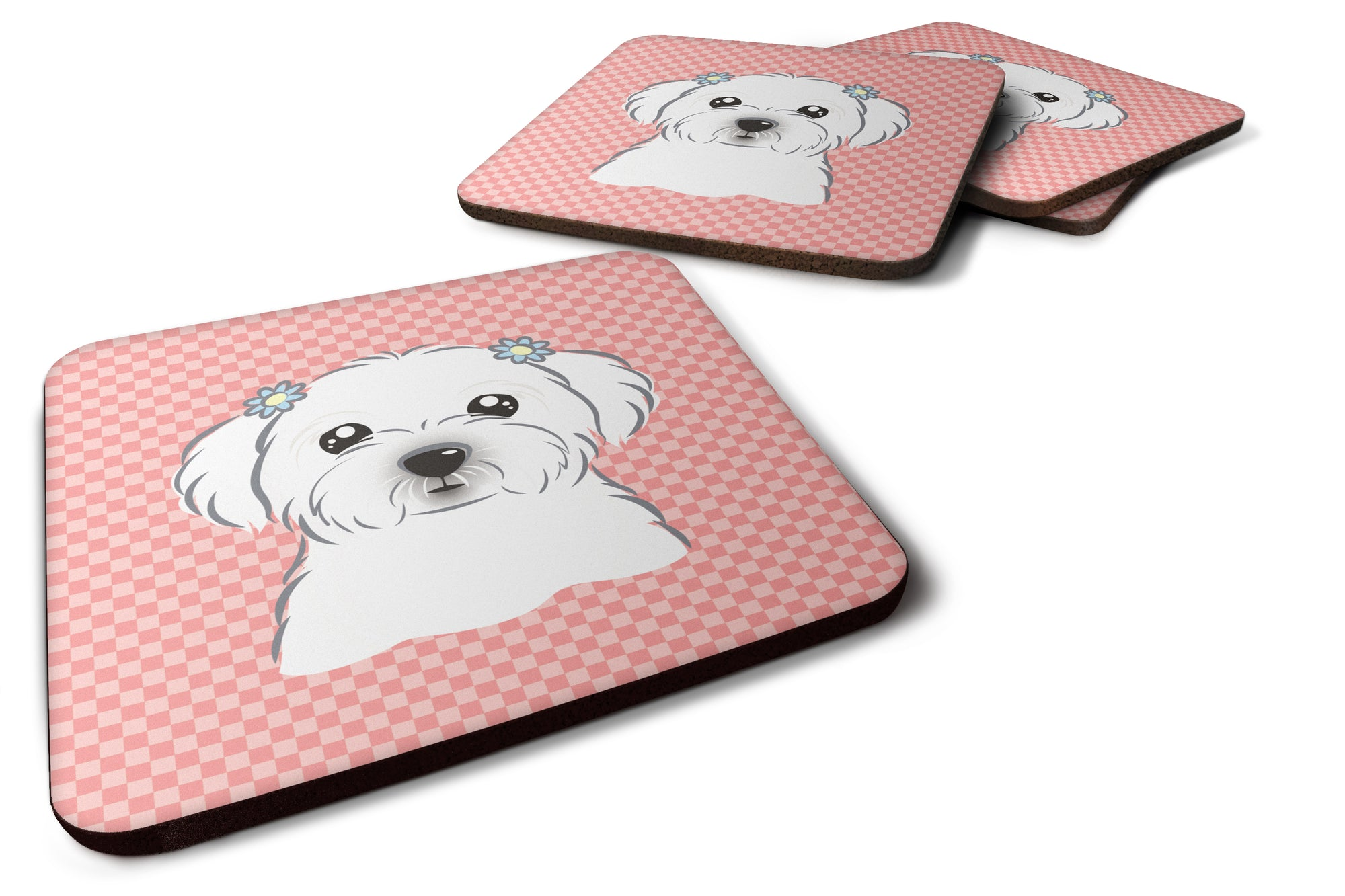 Set of 4 Checkerboard Pink Maltese Foam Coasters BB1208FC by Caroline's Treasures